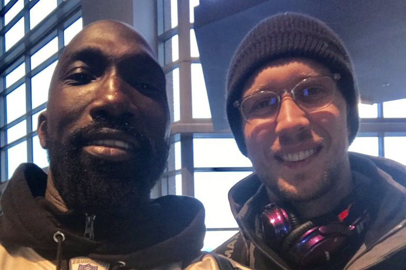 Celebrities and Eagles players celebrate the Birds' Super Bowl victory down Broad Street