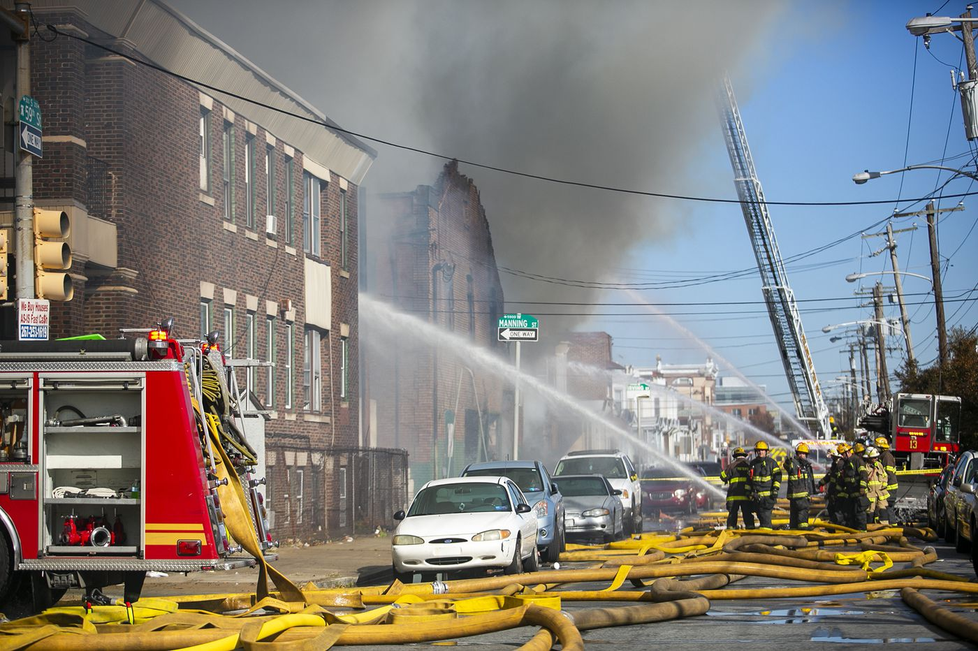 Fire burns through garage in West Philadelphia