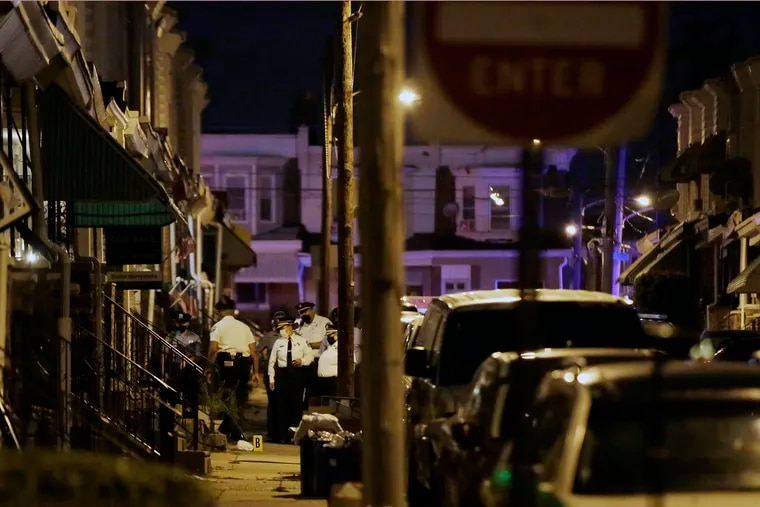 Philadelphia Police commissioner Danielle Outlaw at the scene of the shooting in the 200 block of N. Simpson St, where a 7 year old child was shot in the head on Saturday. The boy had been playing with a toy on the porch when gunfire erupted in the street.