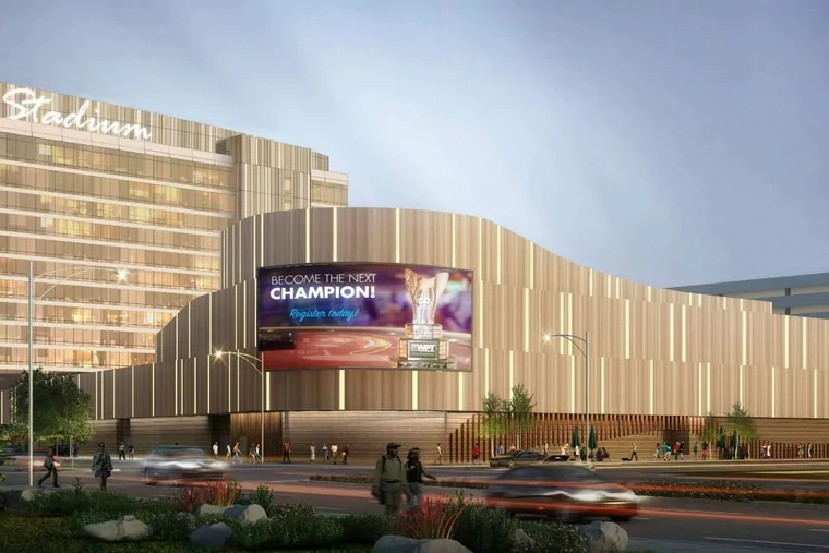 Artist's rendering of casino and hotel complex planned for 900 Packer Ave. site in South Philadelphia's sports stadium district.