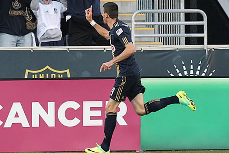 Sebastien Le Toux scored early for the Union, but their offense only came to life late in the game. (Steven M. Falk/Staff Photographer)