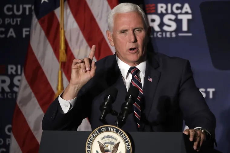Vice President Mike Pence addresses the crowd at the America First Policies event in Rosemont, Ill.