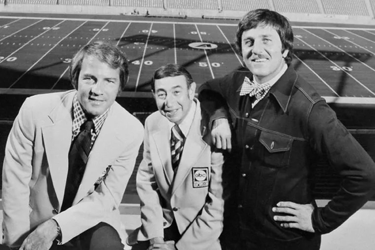 """""""Dandy Don"""" Meredith (right) is shown in 1973 with """"Monday Night Football"""" cohosts Frank Gifford (left) Howard Cosell."""