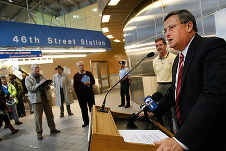 SEPTA General Manager Joe Casey at the 46th Street Station for the Market/Frankford Elevated Train. The station was rebuilt as part of SEPTA's track reconstruction. (Alejandro Alvarez / Staff Photographer)