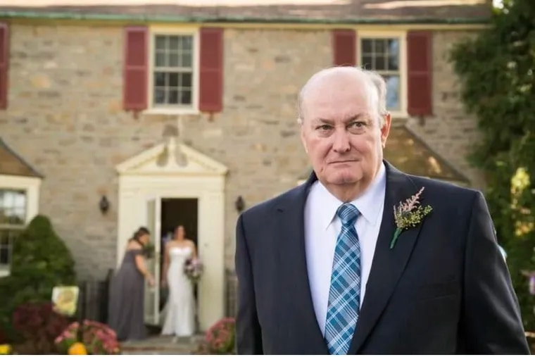 Mr. Lynch outside the family home in Washington Crossing, Pa., in 2017 on the day of his daughter Carolyn's wedding.