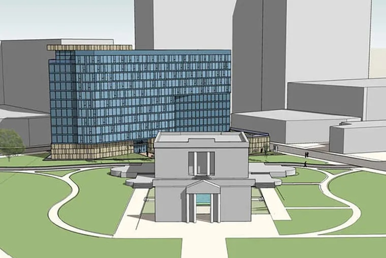 A proposed glass-clad apartment tower behind the Rodin Museum. The building would crowd the tiny classical temple. (Barton Partners)