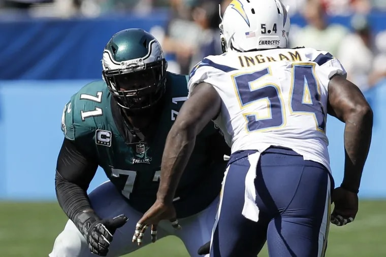 Eagles offensive tackle Jason Peters gets ready to take on the Chargers' Melvin Ingram.