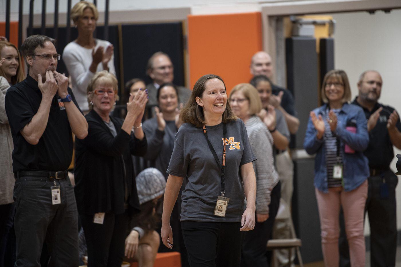 Marple Newtown teacher named one of America's best, gets $25,000 prize in surprise school ceremony