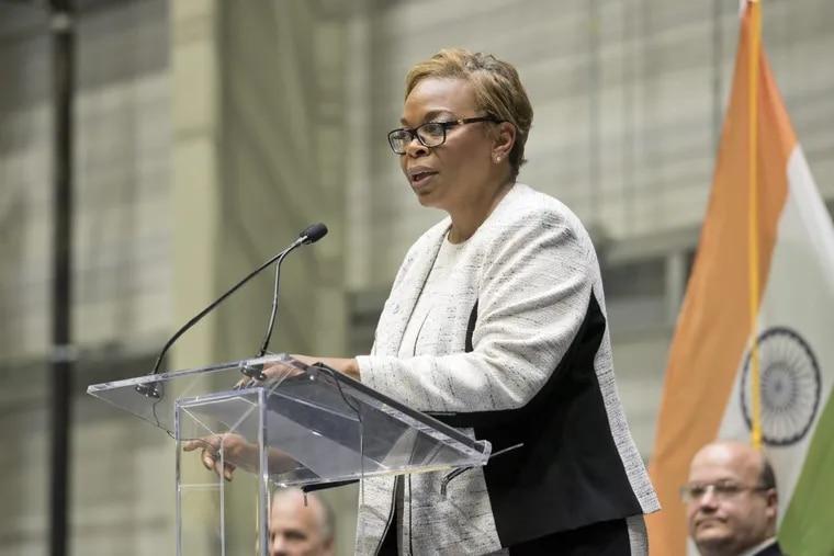 Camden Mayor Dana Redd speaks during a ribbon cutting ceremony in September.
