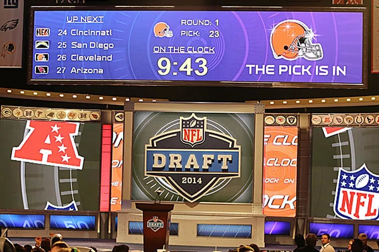 The stage is seen after Johnny Manziel is selected by the Browns. (Gregory Payan/AP)