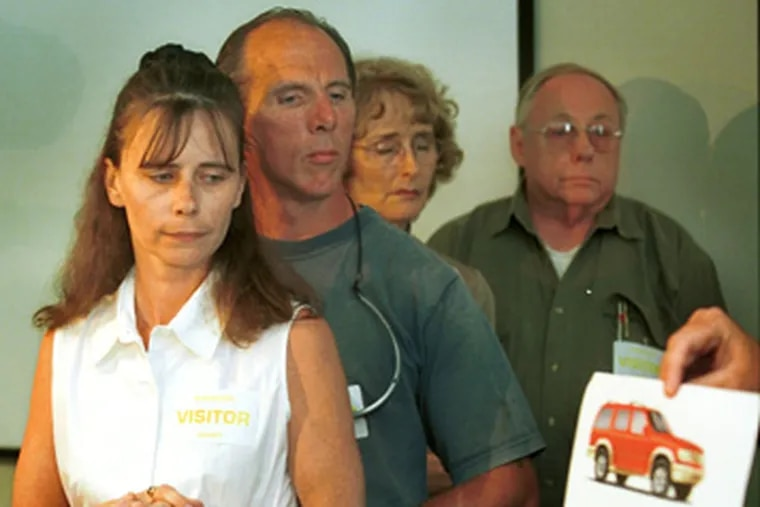 In June 2002, Jennifer Whipkey's mother, Elizabeth McCool (left), and stepfather, Jerry, were joined by Whipkey's grandparents Mary and Ted MacClay in asking the public for information in the stabbing death.