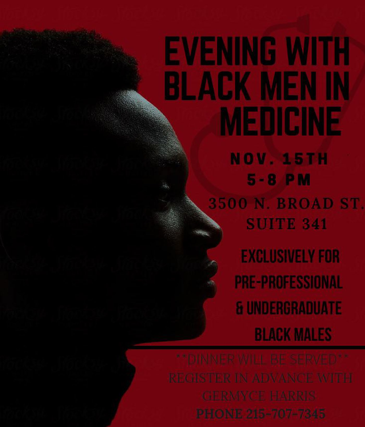 """7f042bf0c33 A poster for """"An Evening with Black Men in Medicine."""" courtesy of Temple"""