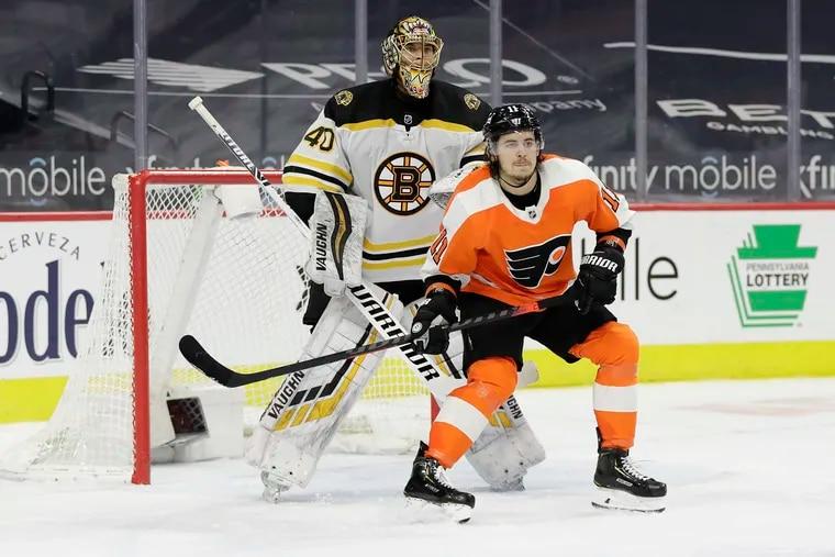 Flyers right winger Travis Konecny gets in position in front of Boston Bruins goaltender Tuukka Rask on Friday.