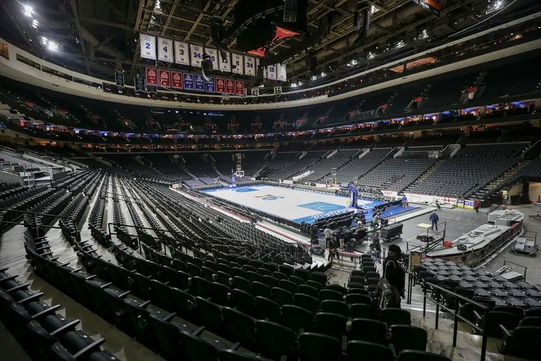 The Wells Fargo Center on March 11 after the last game played at the arena before events were postponed because of the coronavirus. Consumers are struggling to get refunds as the pandemic disrupts flights, games, live events, and vacations.