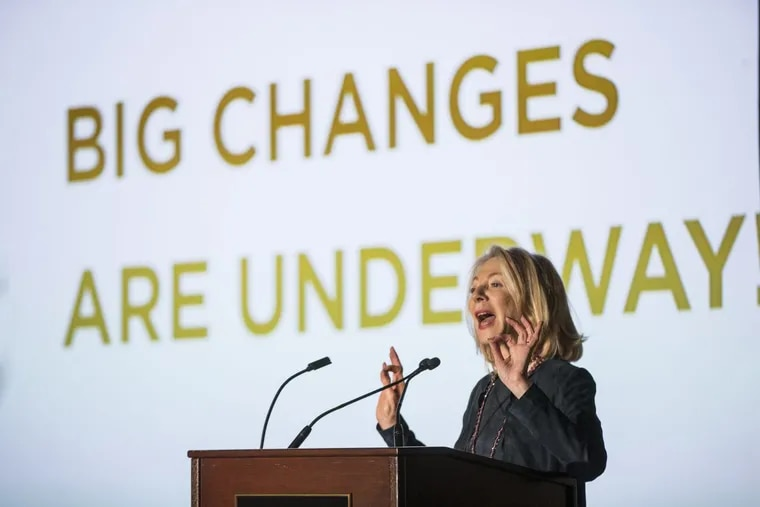 University of Pennsylvania president Amy Gutmann is among the region's nonprofit executives whose pay would be taxed under proposals being considered in Congress. Here, on Nov. 1, she announced a three-year renovation of the Penn Museum.