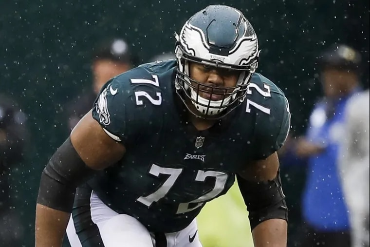 Eagles offensive tackle Halapoulivaati Vaitai against the San Fransisco 49ers on Sunday, Oct. 29.