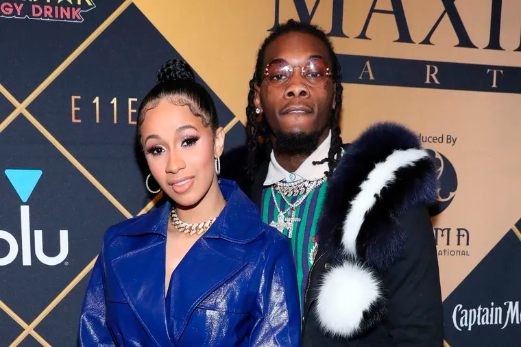 FILE- In this Feb. 3, 2018, file photo, Cardi B, left, and Offset arrive at the Maxim Super Bowl Party at the Maxim Dome in Minneapolis. Cardi B is asking the public to not bash Offset, who became the target of internet outrage after he interrupted her set at the Rolling Loud Festival in Los Angeles Saturday night, Dec. 15, 2018 and asked her to get back together with him.