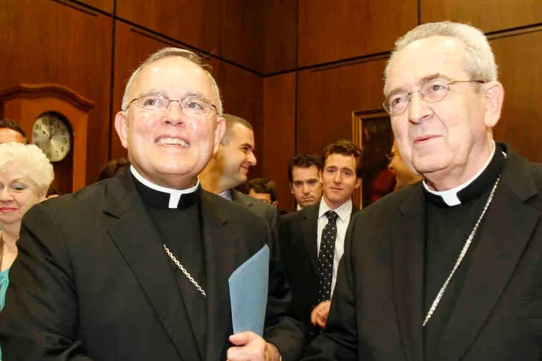 Archbishop Charles Chaput (left) shakes hands with Cardinal Justin Rigali before a news conference last fall. Archdiocesan officials have been virtually silent about the status of 27 priests or details of the allegations that led to their suspensions.