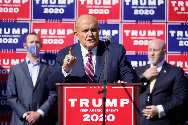 Rudy Giuliani, a lawyer for President Donald Trump, speaks during a news conference outside Four Seasons Total Landscaping on State Road in Northeast Philadelphia on Saturday.