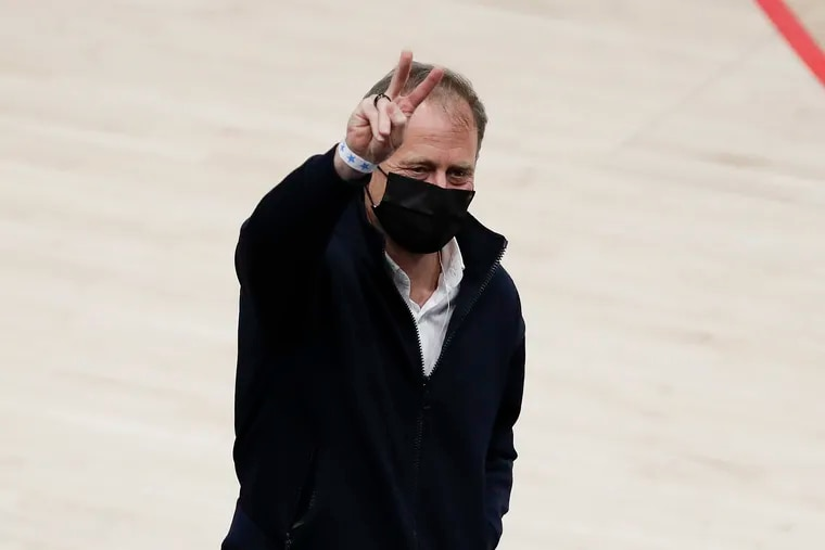Sixers managing partner Josh Harris raises his finger while attending the Sixers and Washington Wizards Game 4 first round NBA playoff series in Washington D.C., on Monday, May 31, 2021.
