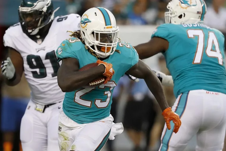 Jay Ajayi carries the ball during a preseason game between the Eagles and Miami Dolphins on Aug. 24.