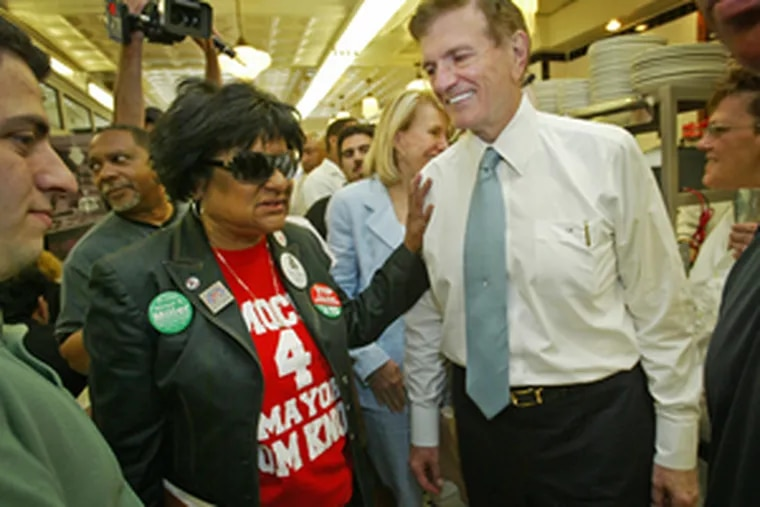 Councilwoman Jannie Blackwell (left) with candidate Tom Knox yesterday at Famous Deli. The two forged an alliance after Knox endorsed Blackwell for Council president.