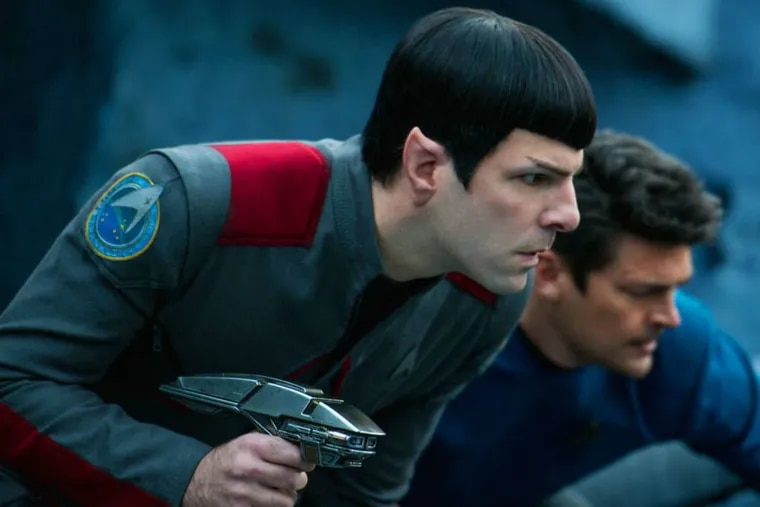 """In this image released by Paramount Pictures, Zachary Quinto (left) and Karl Urban appear in a scene from """"Star Trek Beyond."""""""