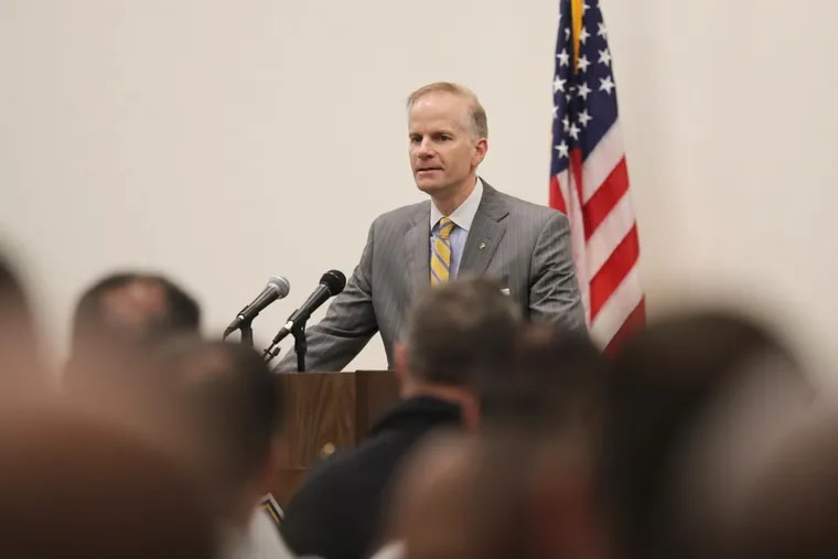 U.S. Attorney William M. McSwain speaks in support of Philadelphia Police to commanders and recruits at the Police Academy on Thursday, April 26, 2018.