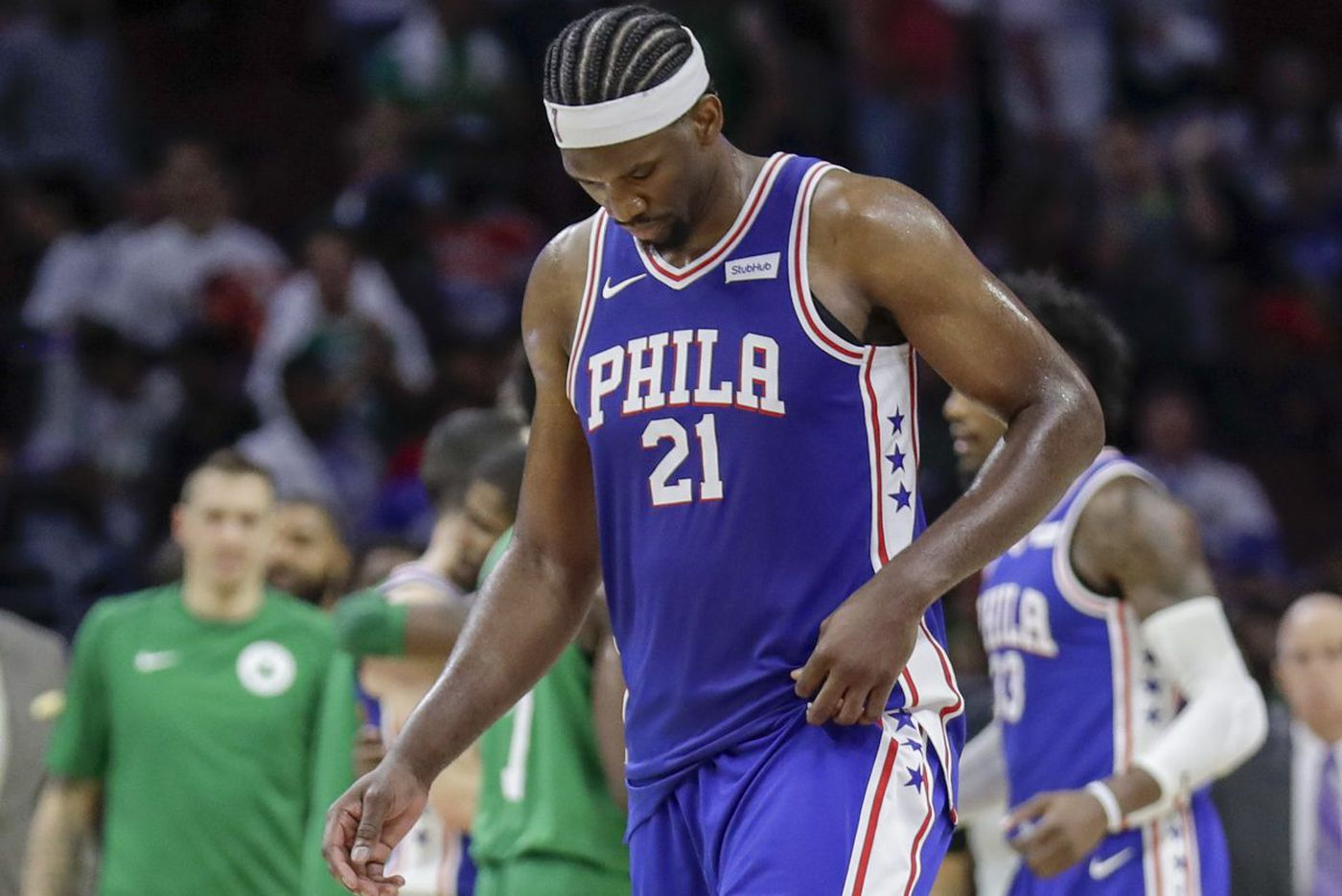 Embiid, Sixers feel the moment, but come up short in home-opening loss