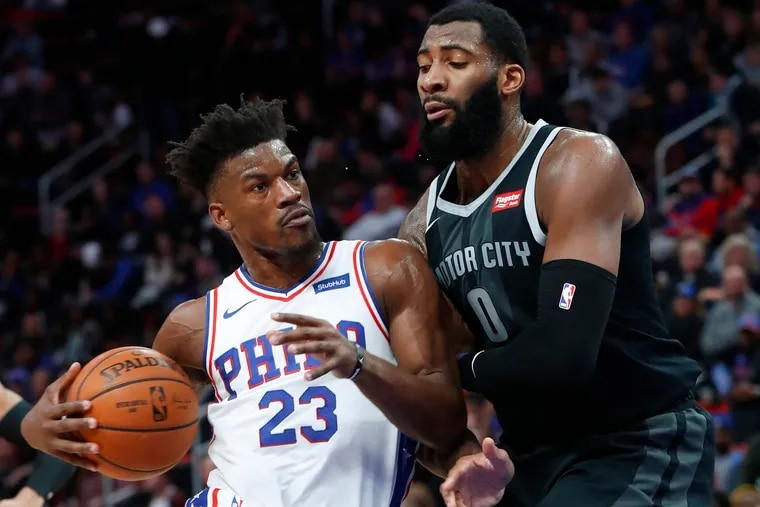 Jimmy Butler drives against the Pistons' Andre Drummond on Friday.