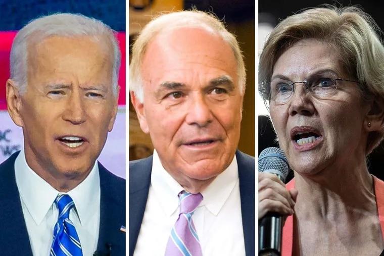 From left: Former Vice President Joe Biden, Former Pennsylvania Governor Ed Rendell, and Senator Elizabeth Warren.