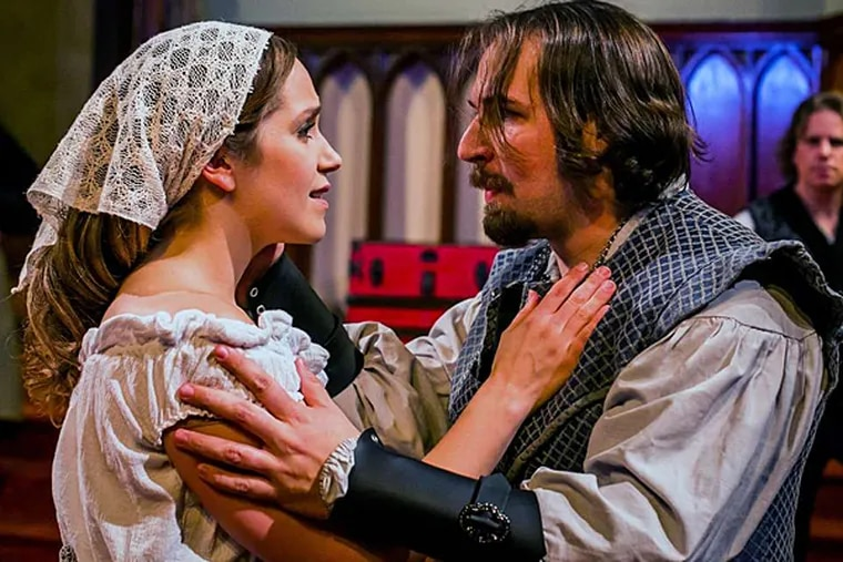 """Rachel Camp is Bess and Adam Altman is Spencer in """"The Fair Maid of the West,"""" presented by the Philadelphia Artists' Collective. (ASHLEY LABONDE / WIDE EYED STUDIOS)"""