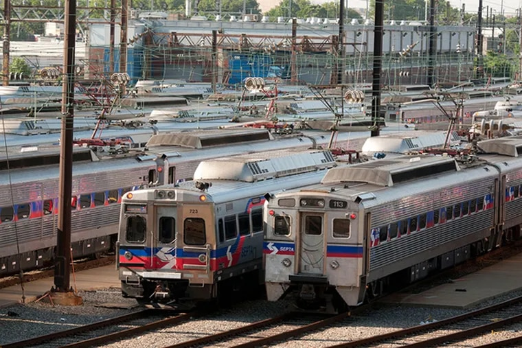 Idle trains, out of service due to the Regional Rail strike, are parked in the SEPTA Roberts Avenue Yard. ( RON TARVER / Staff Photographer )