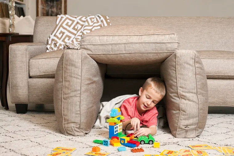 For a lot of homeowners, the coronavirus has changed the furnishings they need and how they use them, but finding the right piece online hasn't been easy. Here, Andrew Groves, son of Studio 882 co-owner Kate Groves, improvises an indoor fort.