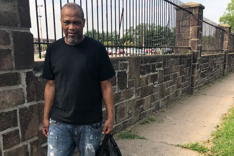 Barry Garrett, 61, outside Curran-Fromhold Correctional Facility the morning after his release, seeking to get his cash, ID and other belongings returned.