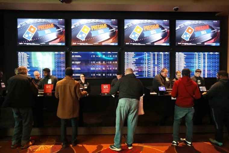 The first legal sports bettors put their money on the line Thursday afternoon at the SugarHouse Casino sportsbook in Philadelphia.