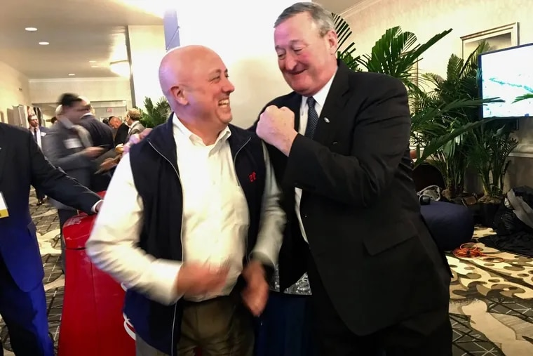 Mayor Kenney (right) and Bill Carpenter, mayor of Brockton, Mass., have made a Super Bowl bet involving each city's Rocky statue.