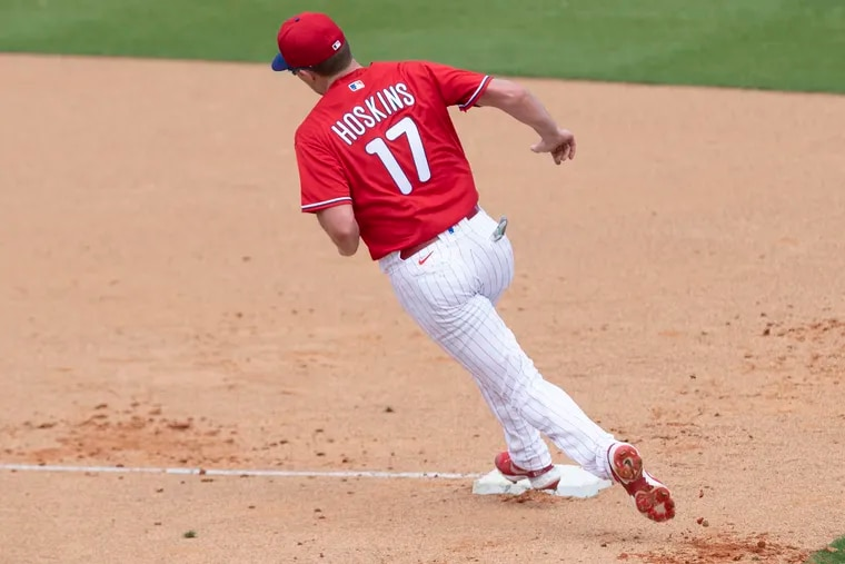 Phillies first baseman Rhys Hoskins runs the bases Monday during a spring-training workout in Clearwater, Fla.