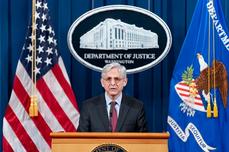 Attorney General Merrick Garland speaks at the Department of Justice on April 21, 2021, in Washington, DC.  (Andrew Harnik/Pool/Getty Images)