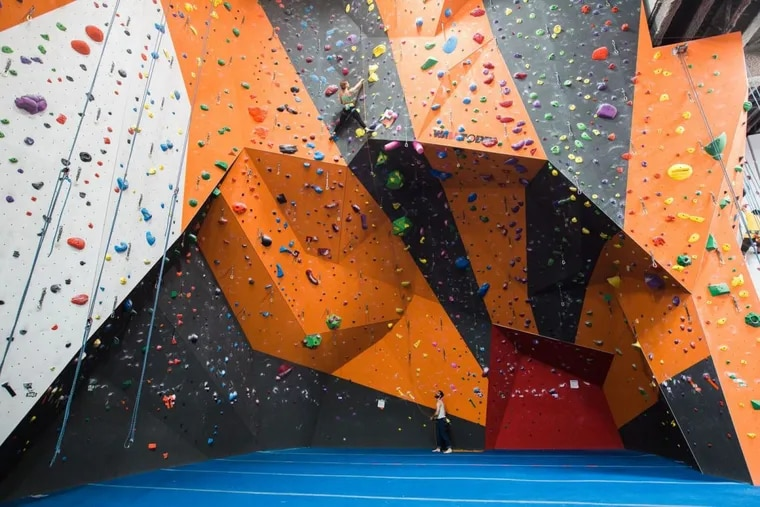 Climbing wall at the Cliffs' gym in the Long Island City area of Queens, N.Y.