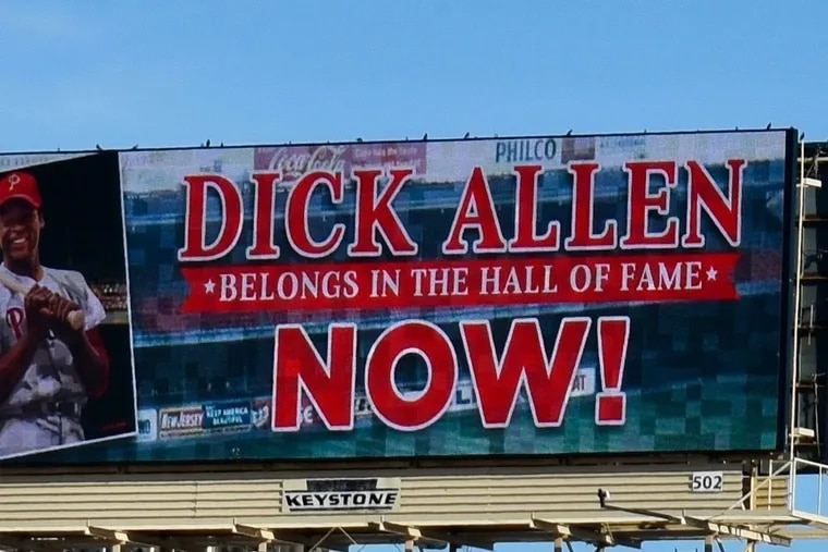 This billboard promoting Dick Allen for the Baseball Hall of Fame rises high above the Vine Street Expressway in downtown Philadelphia. The former Phillie has many supporters in the movement.