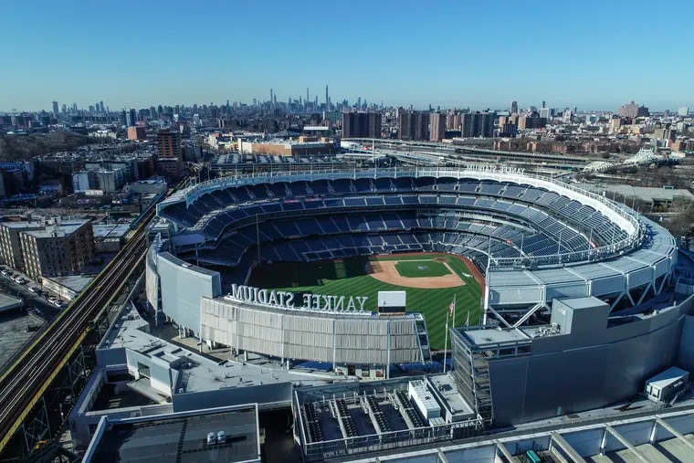 An aerial view of an empty Yankee Stadium in late March.