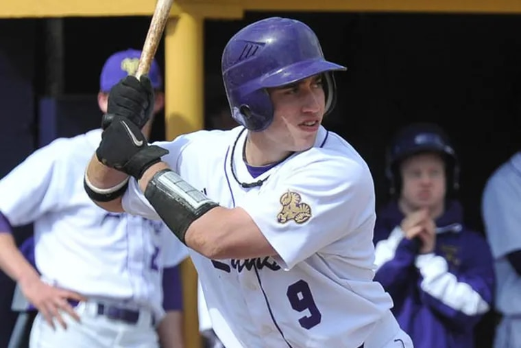 West Chester University left fielder Tyler Coleman, a redshirt freshman from Quakertown, leads his team in batting average after sitting out all of last season undergoing treatment for Hodgkin's lymphoma. (Photo courtesy of West Chester University)