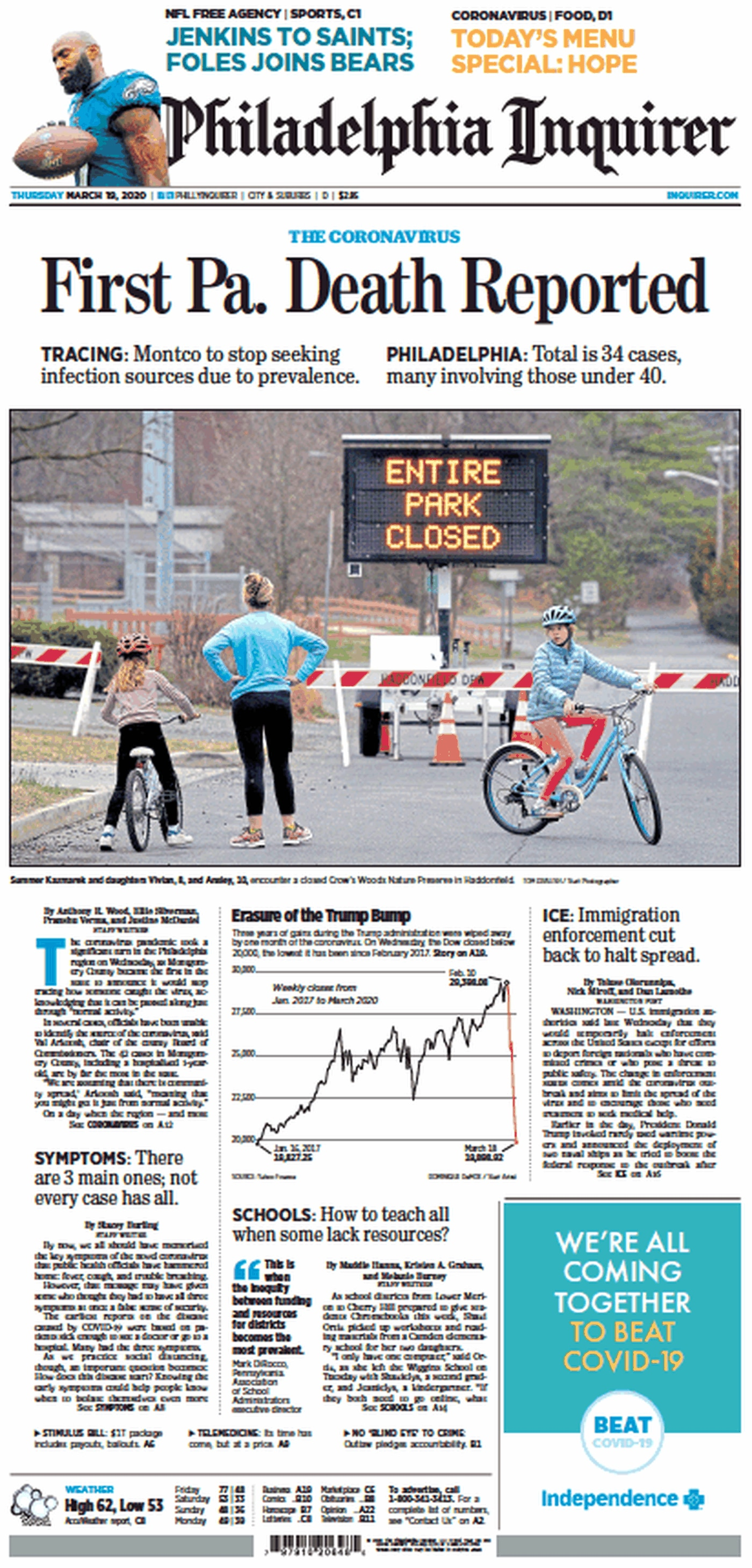 Front page of the Philadelphia Inquirer for Thursday, March 19, 2020.