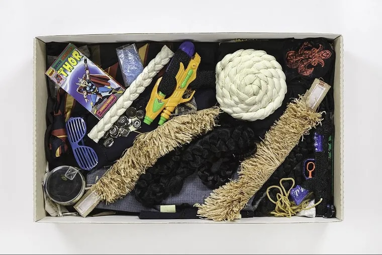The contents of this box inspired a series of Robert Pruitt photographs. Both are on display in a 40th-anniversary show at the Fabric Workshop and Museum.