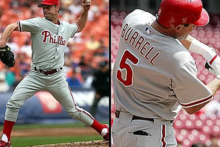 The Phillies have until tomorrow to offer arbitration to potential free agents, including Jamie Moyer, left, and Pat Burrell.