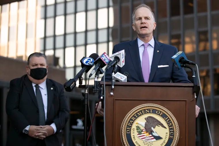 William M. McSwain, U.S. attorney for the Eastern District of Pennsylvania, speaks during a press conference announcing federal charges against the four men in the  March shooting death of Philadelphia Police Cpl. James O'Connor IV on Thursday, Dec. 10, 2020. McSwain announced his resignation on Thursday, Jan. 14, 2020.