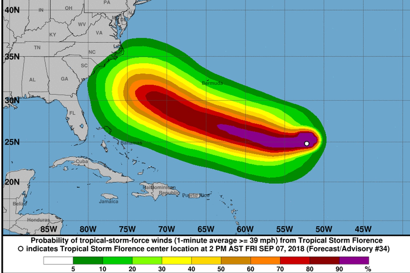 Tropical Storm Florence Heading Westward Strengthening Forecast