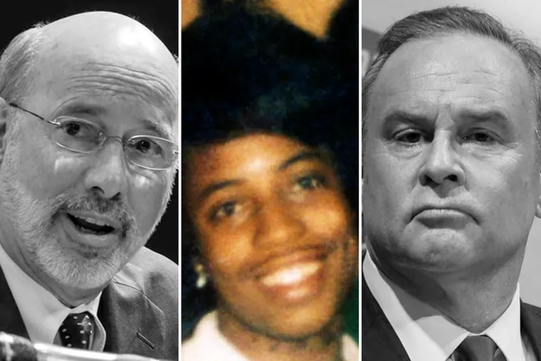 Rob McCord (right) used the York murder of Lillie Belle Allen (center) to cast doubt on Tom Wolf's (left) judgement due to his link with a defendant in the case. McCord's attacks, though, only made Wolf look better and himself look worse, says columnist Karen Heller.
