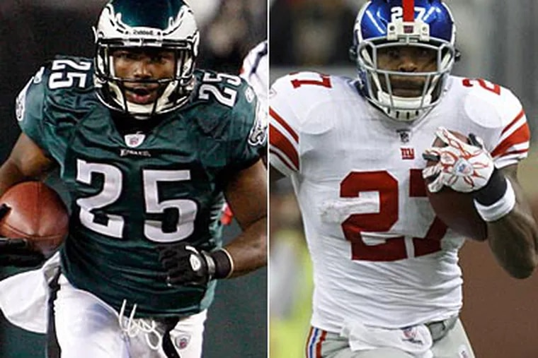 LeSean McCoy and Brandon Jacobs key the rushing games of the Eagles and Giants. (Staff and AP Photo)